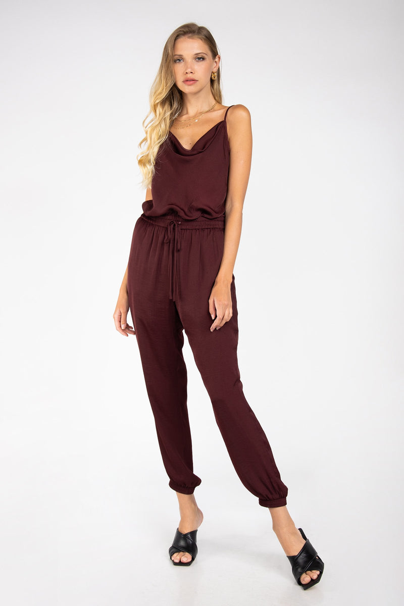 LAST CALL SIZE M | Cowl Neck Satin Finish Jogger-Style Jumpsuit in Merlot