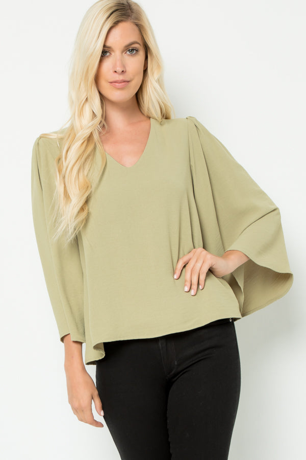 Bell Sleeve Blouse in Light Olive