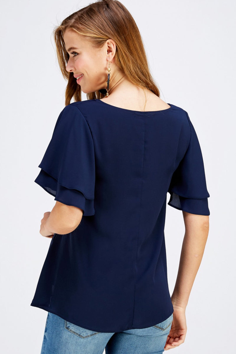 Flutter Sleeve Blouse in Navy