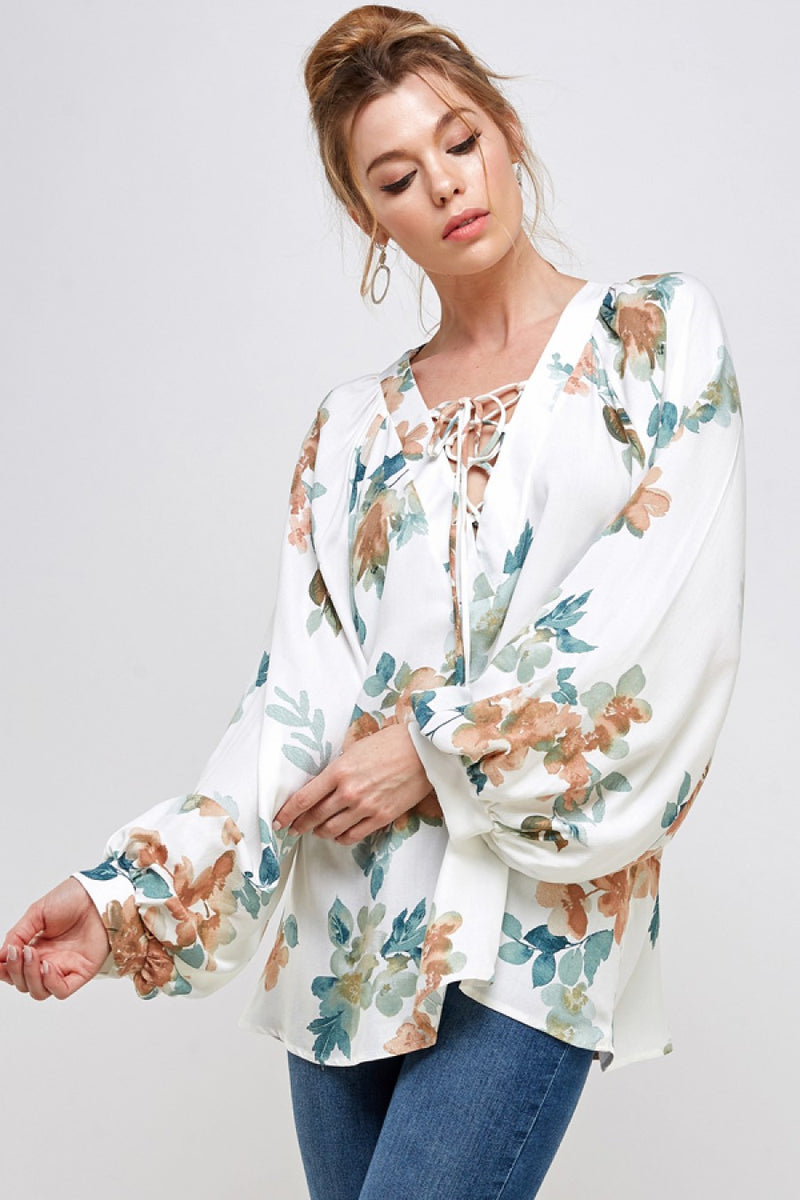 Lace Up Balloon Sleeve Blouse in Ivory Floral