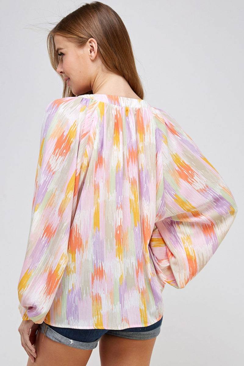 Lace Up Balloon Sleeve Blouse in Pastel Paint Strokes