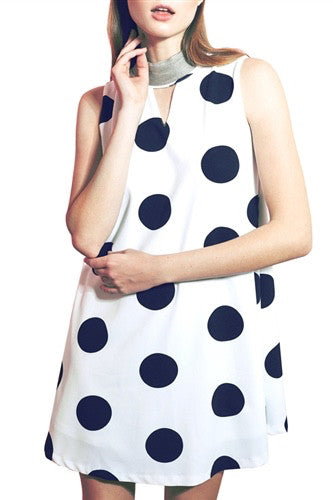 LAST CALL SIZE L | Polka Dot Swing Dress with Metallic Beaded Neck - White with Black Dots