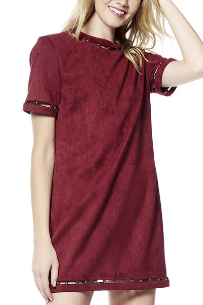 Burgundy Suede Short Sleeve Dress with Silver Ball Detail