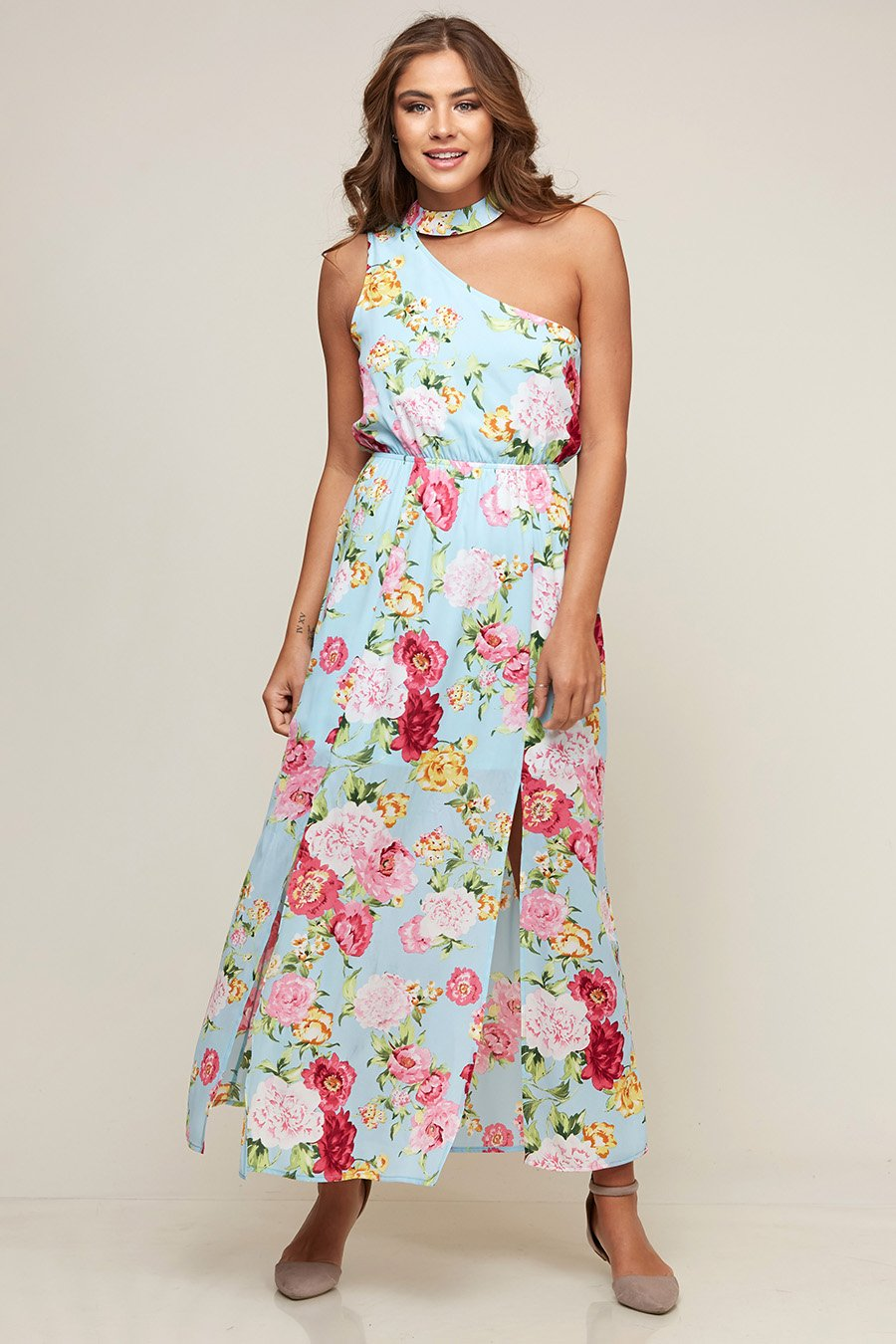 One Shoulder Floral Choker Maxi Dress