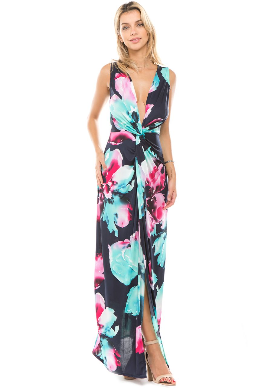 Floral Print Front Maxi Dress with Deep V Neckline
