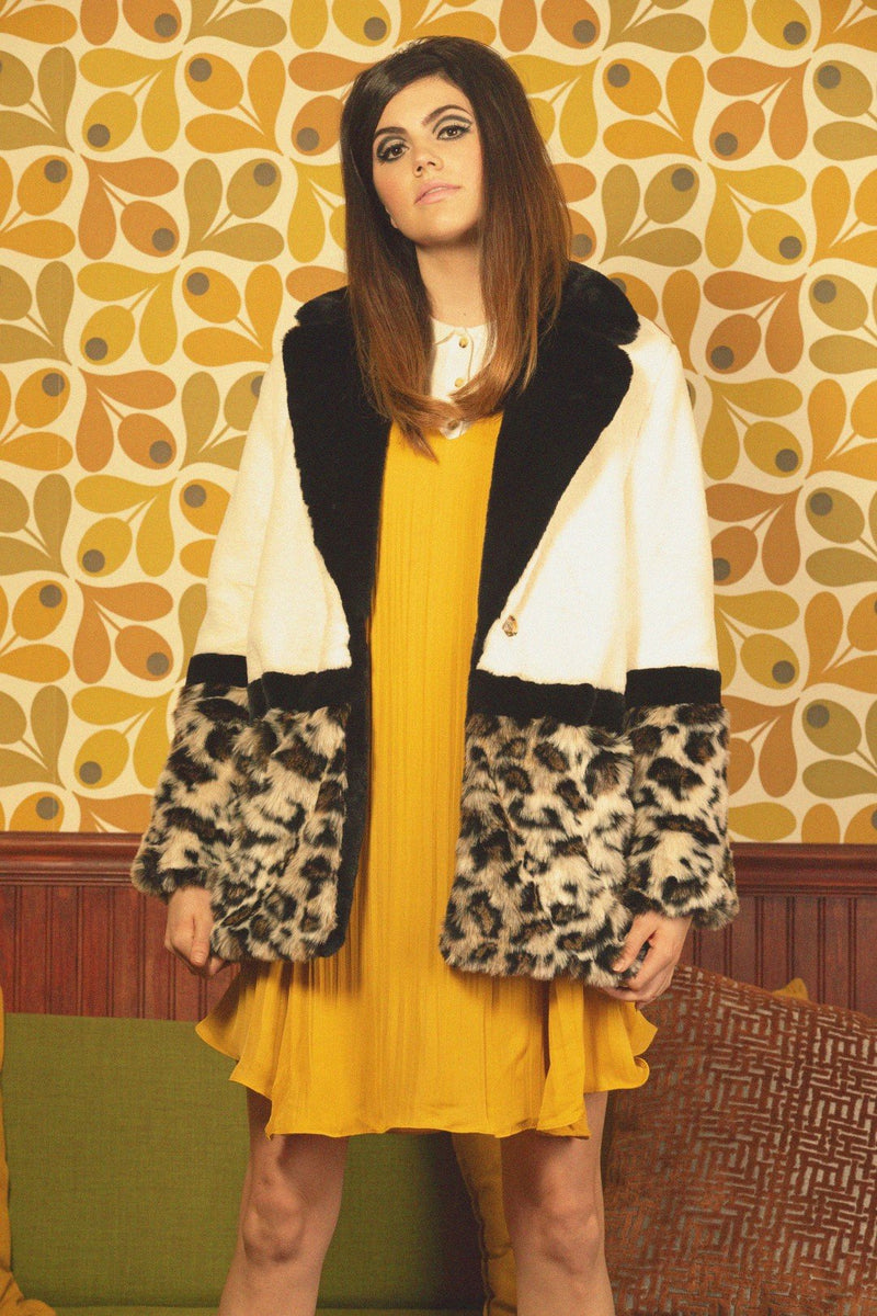 Colorblock Cream and Leopard Print Faux Fur Coat Open Front