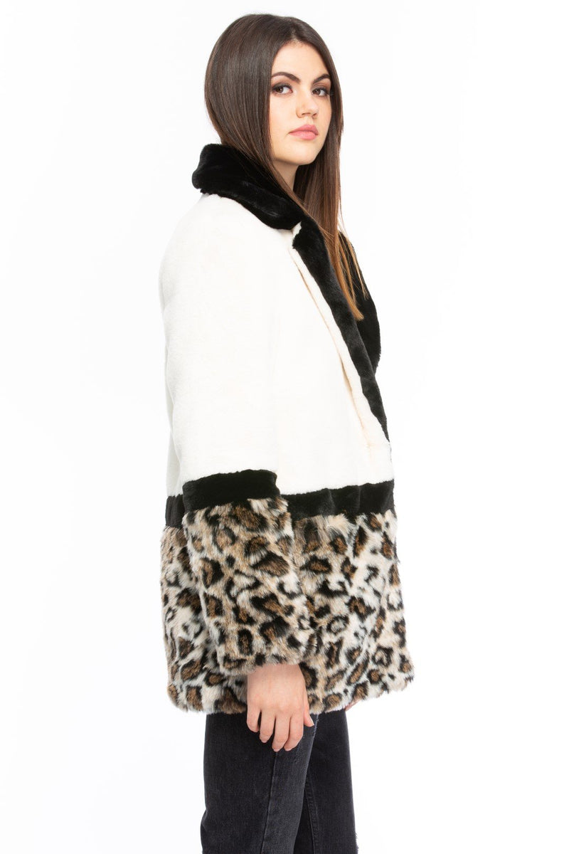 Colorblock Cream and Leopard Print Faux Fur Coat Side