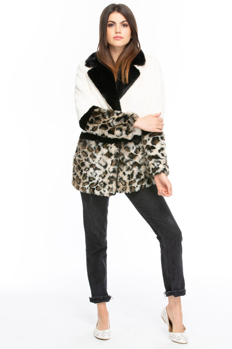 Colorblock Cream and Leopard Print Faux Fur Coat