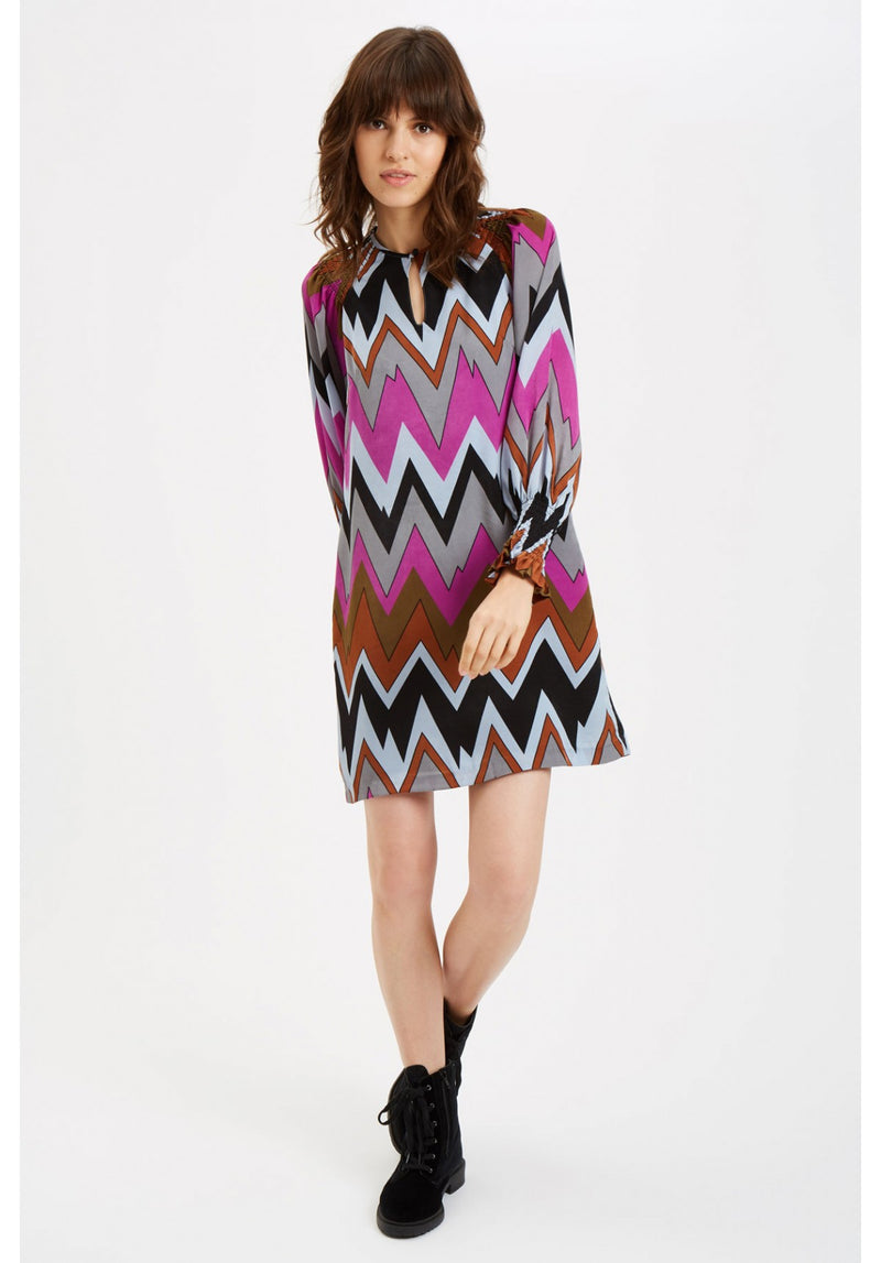 Chevron Print Long Sleeve Dress