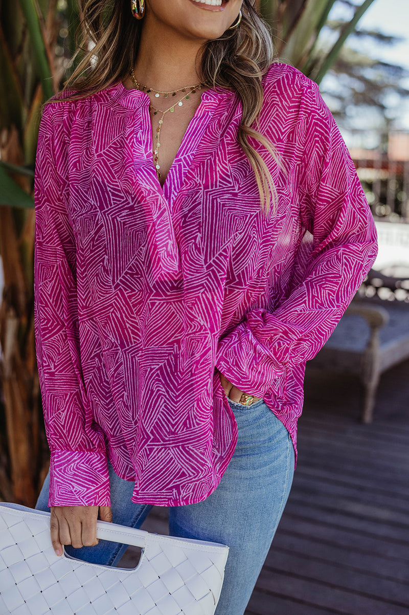 LAST CALL SIZE M | Sheer Chiffon Layering Blouse in Hot Pink