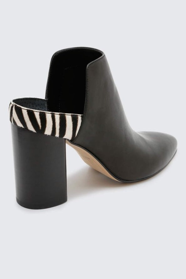 Leather Mule Booties with Zebra Stripe Heel Back