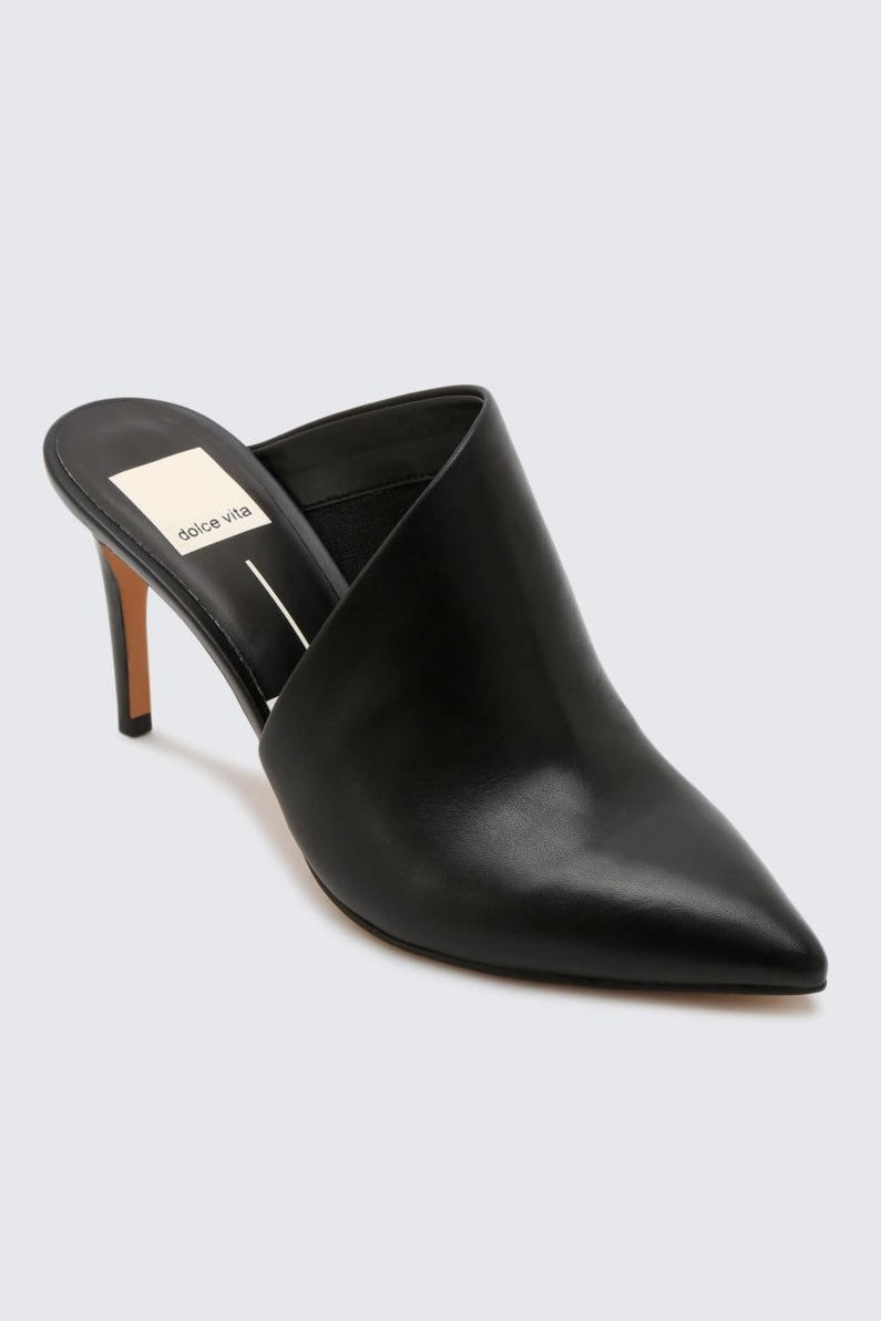 Asymmetric Closed Toe Leather Mule Heels