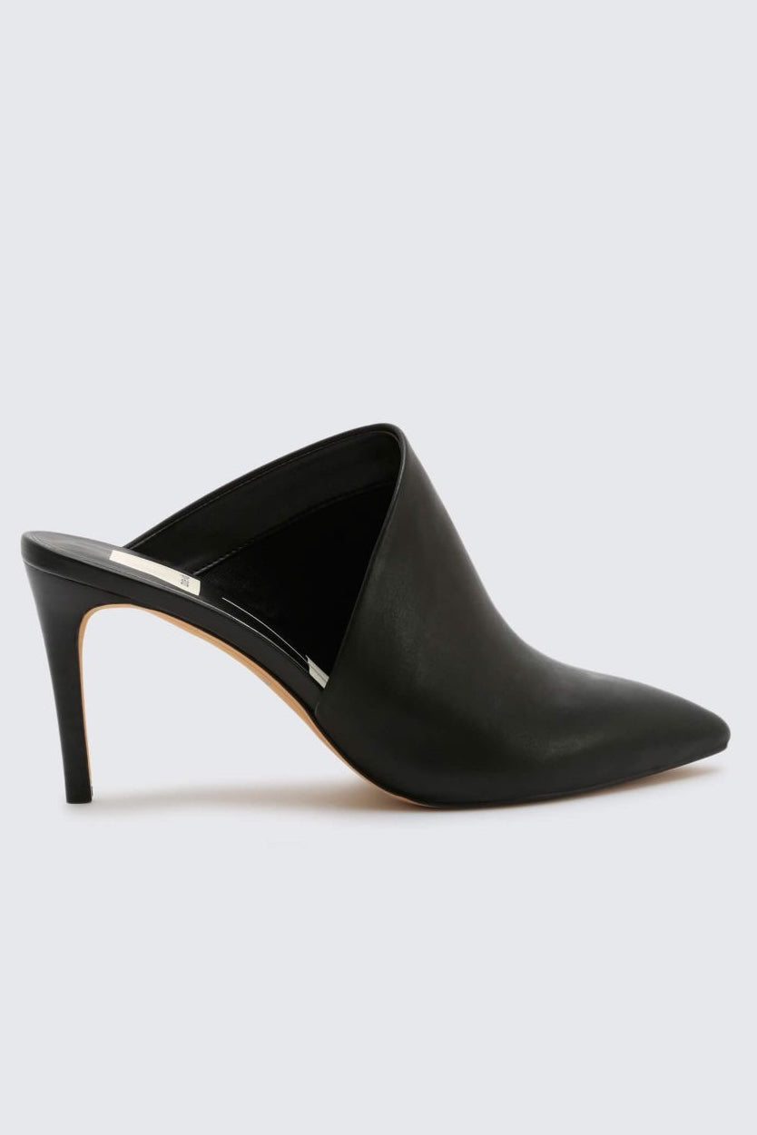 Asymmetric Closed Toe Leather Mule Heels Camal Dolce Vita