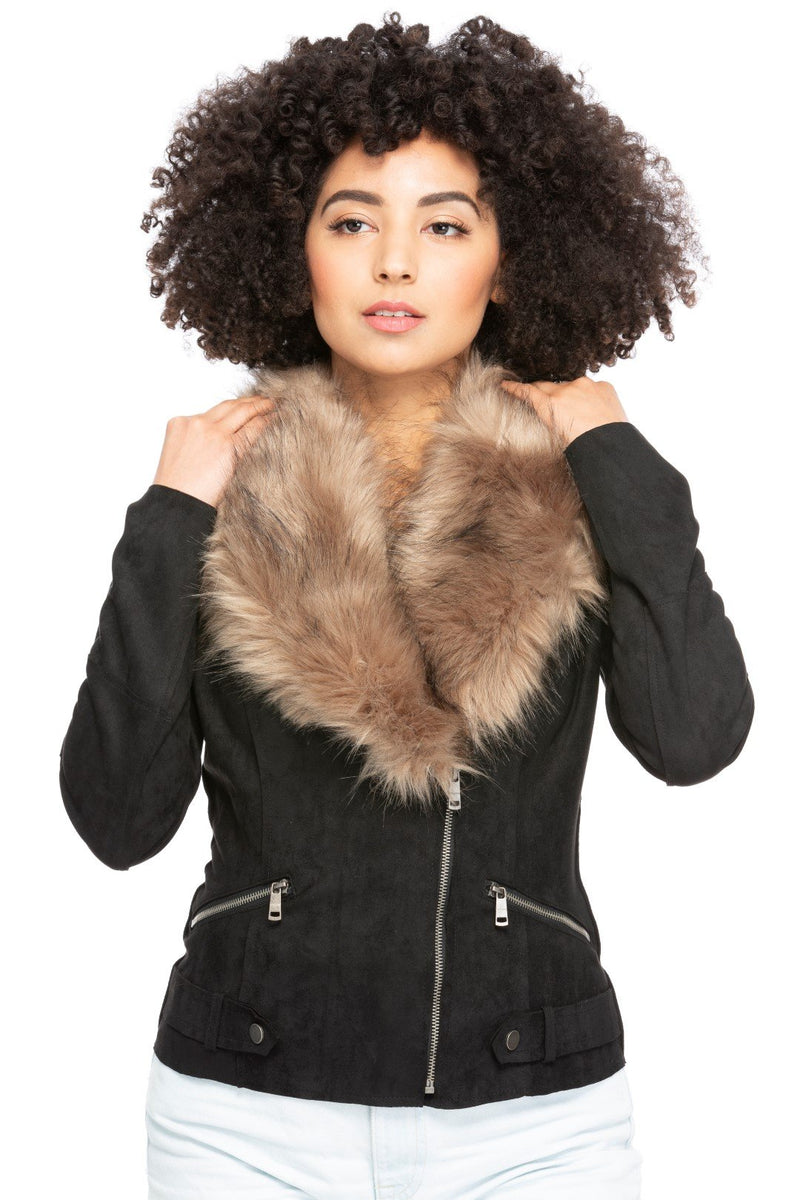 Vegan Suede Jacket with Fur Collar in Black