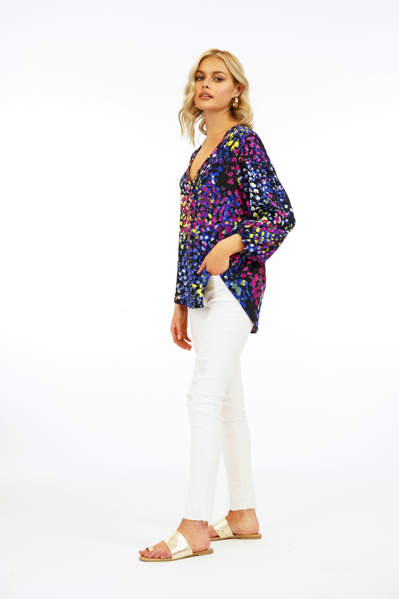 LAST CALL SIZE XS | V-Neck Blouse with Gathered Sleeves