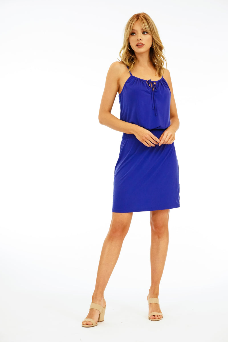 Smocked Tank Dress in Cobalt Blue