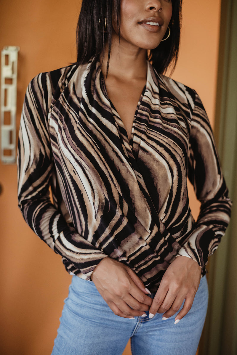 Long Sleeve Surplice Swirl Print Top