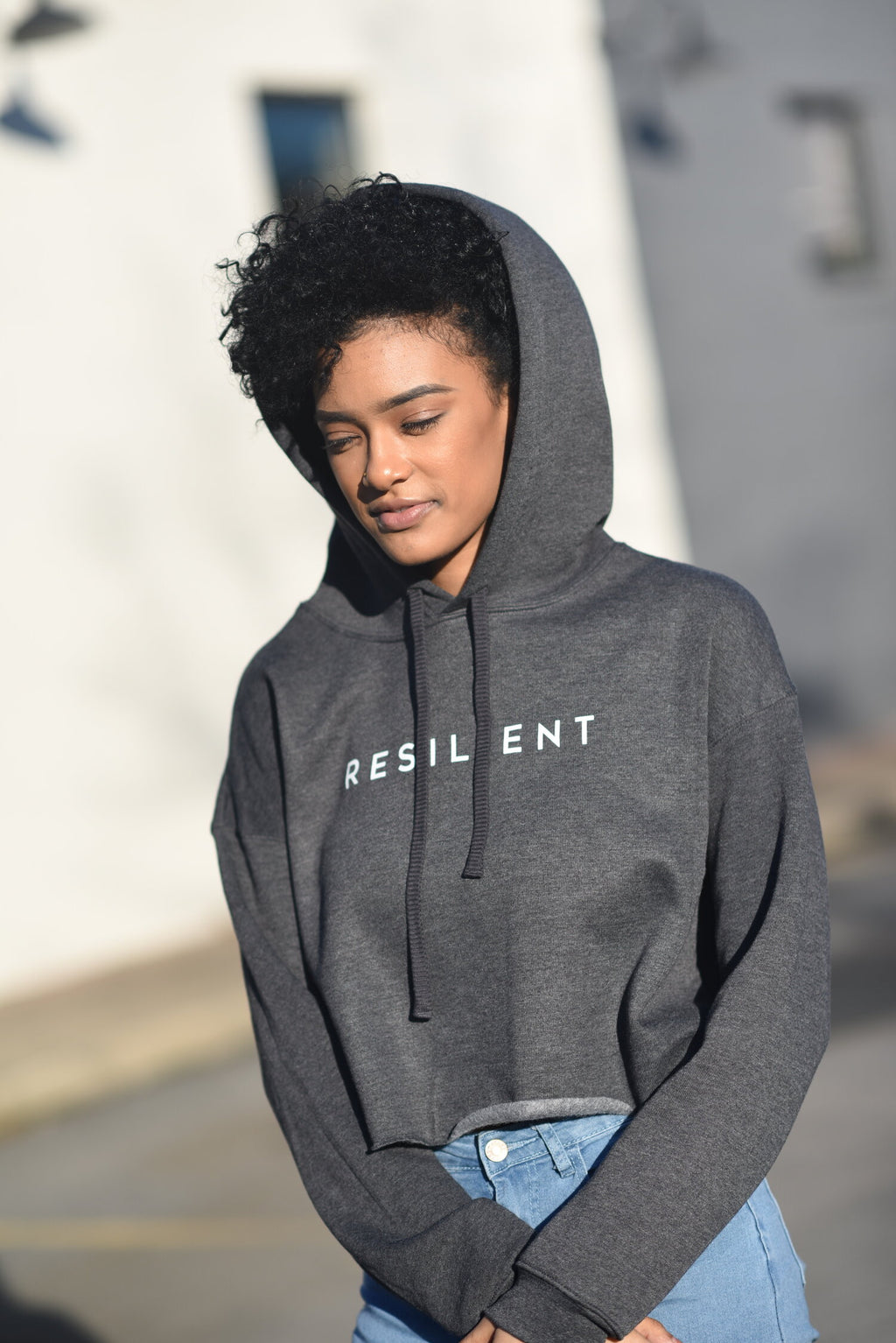 LAST CALL SIZE L | Resilient Cropped Hoodie Sweatshirt in Charcoal
