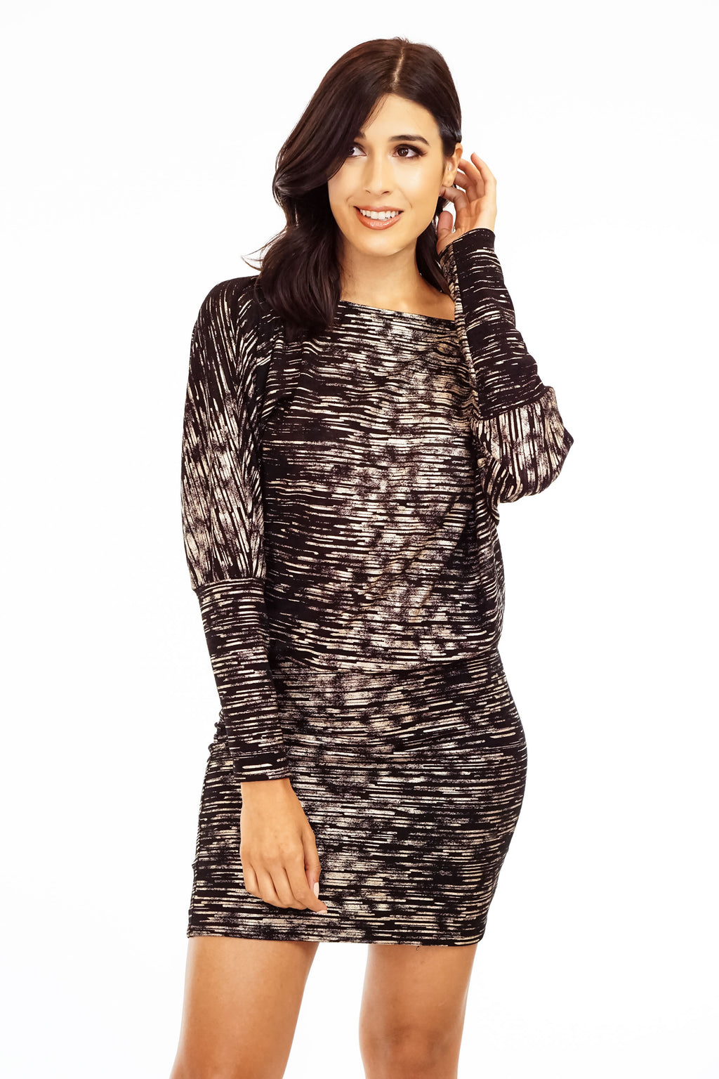 Drop Waist Dress with Dolman Sleeves