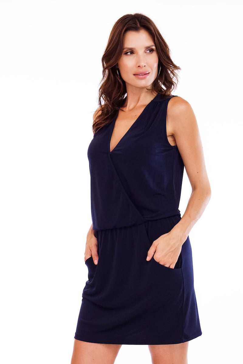 Surplice Drop Waist Dress