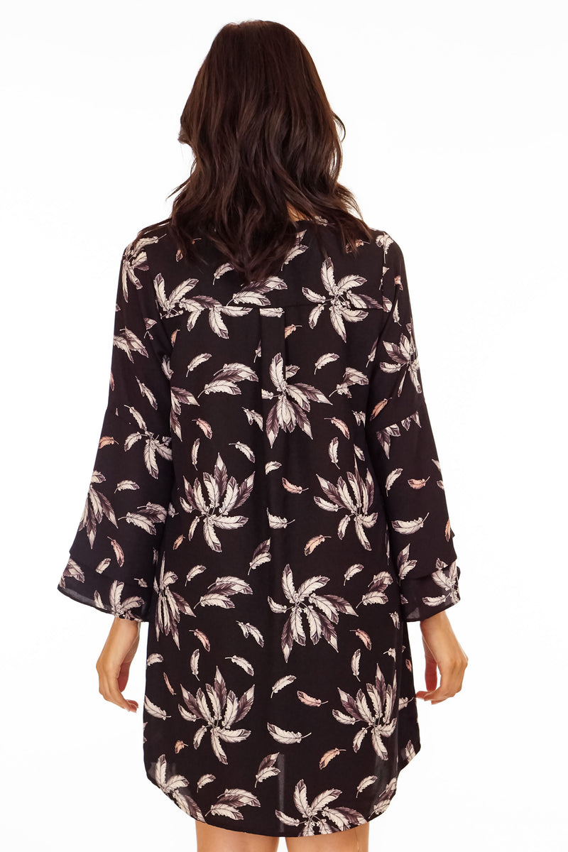 Layered Bell Sleeve Feather Print Dress