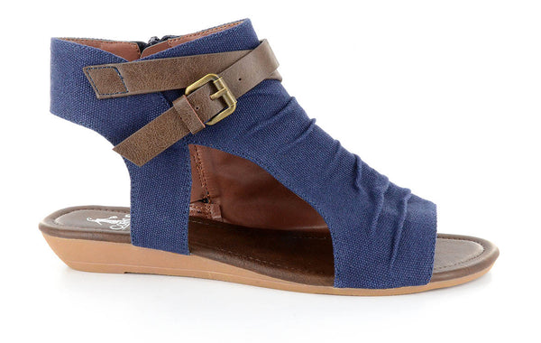 Blue Canvas Flat Sandal