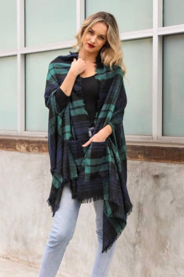 Plaid Pocket Shawl Poncho in Green