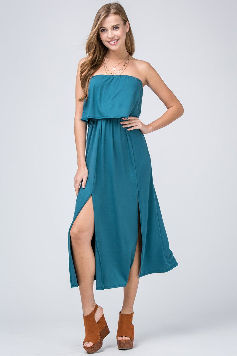 Tube Top Midi Dress in Teal