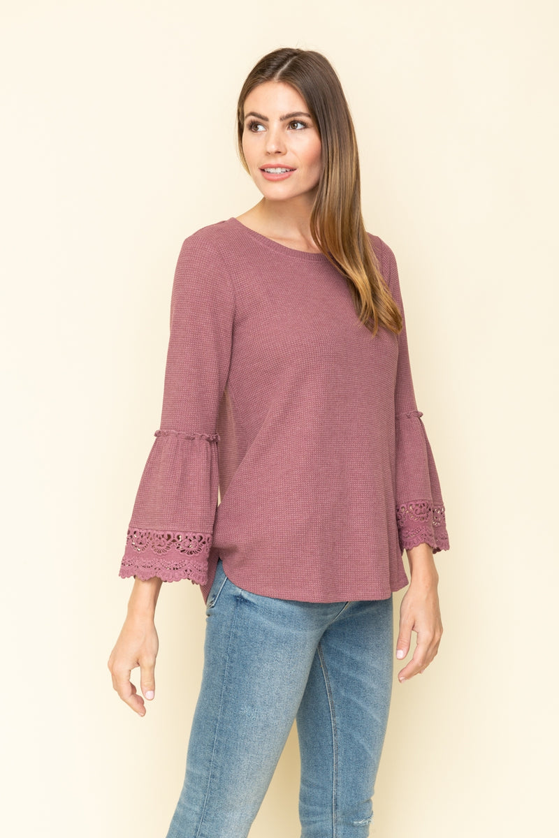 LAST CALL SIZE L | Bell Sleeve Waffle Knit Top in Mauve