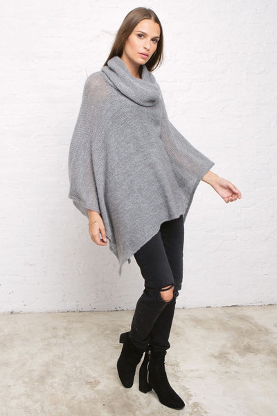 Cowl Neck Poncho in Blue Steel