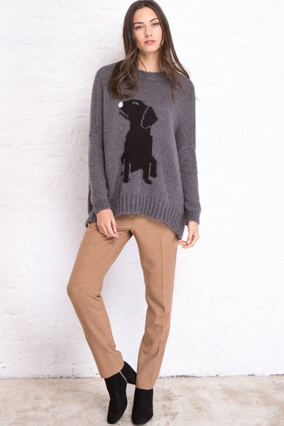 Pup Pullover Sweater in Gunmental/Black Full View