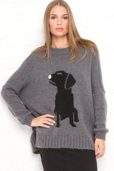 Pup Pullover Sweater in Gunmental/Black Close Up