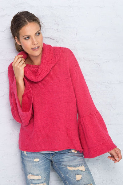 Holiday Red Bell Sleeve Cowl Neck Sweater