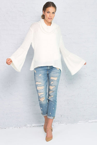 Winter White Bell Sleeve Cowl Neck Sweater