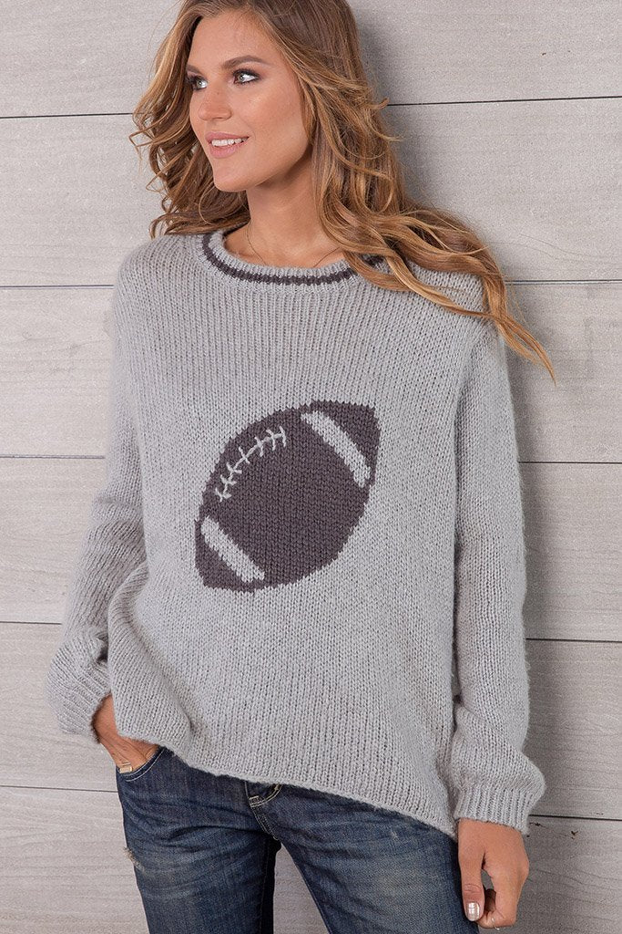 Football Crewneck Sweater in Two Tones