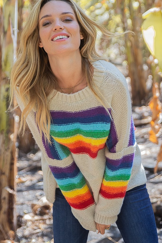 LAST CALL SIZE M/L | Rainbow Crew Neck Knit Sweater