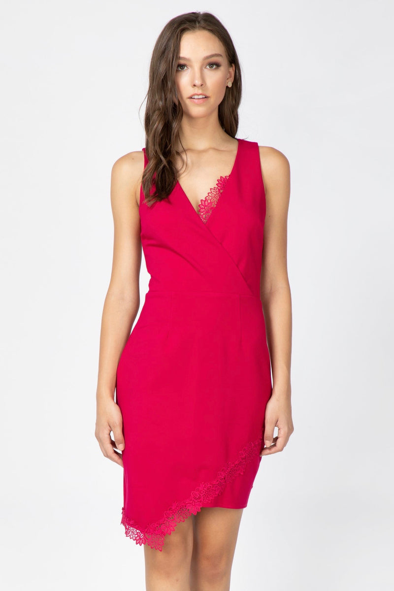 Asymmetric Lace-Lined Hem Sheath Dress Front