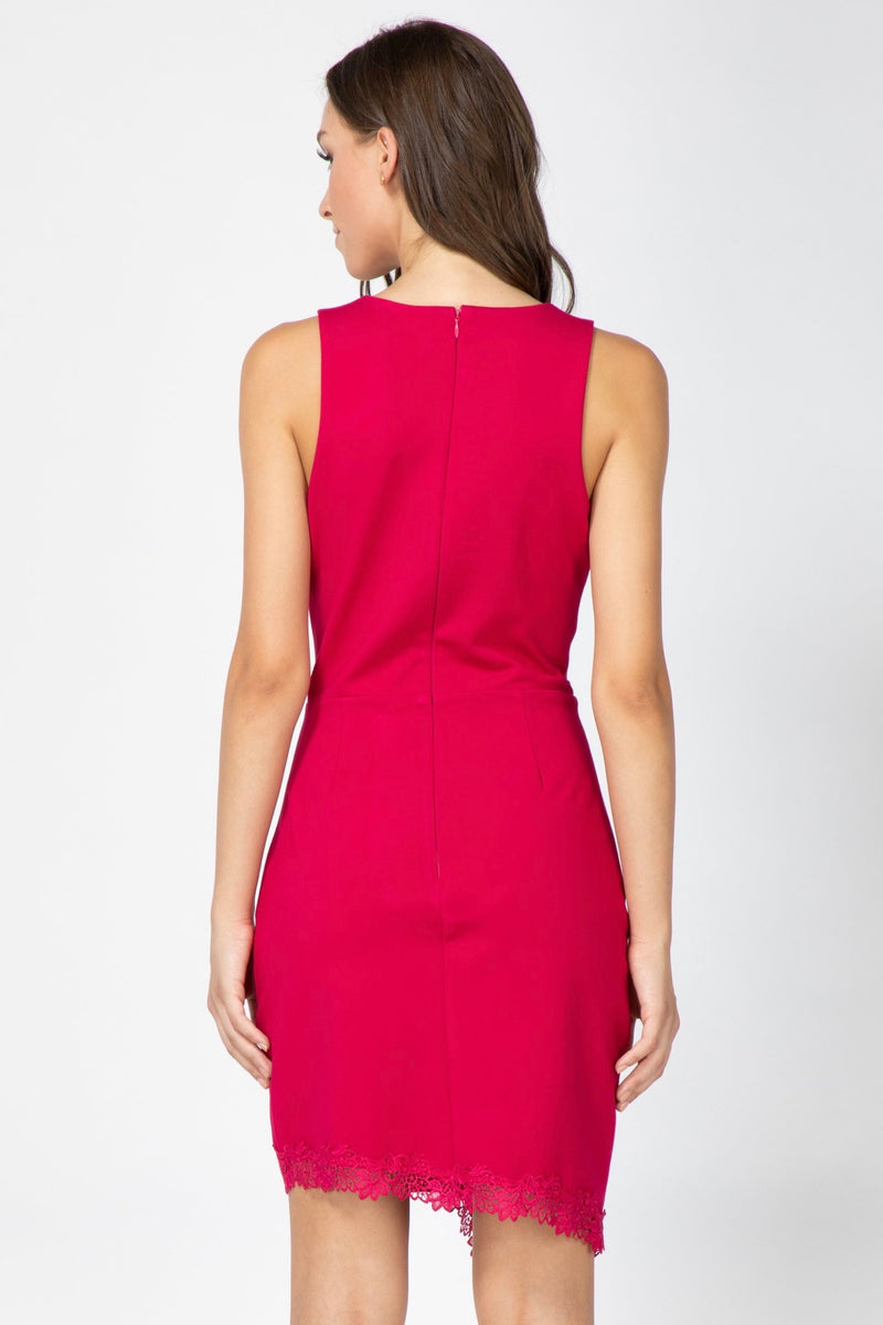 LAST CALL SIZE L | Asymmetric Lace-Lined Hem Sheath Dress