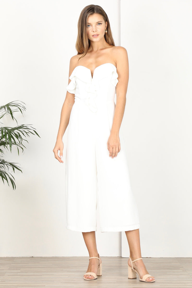 Strapless Ruffled Top Culottes Jumpsuit