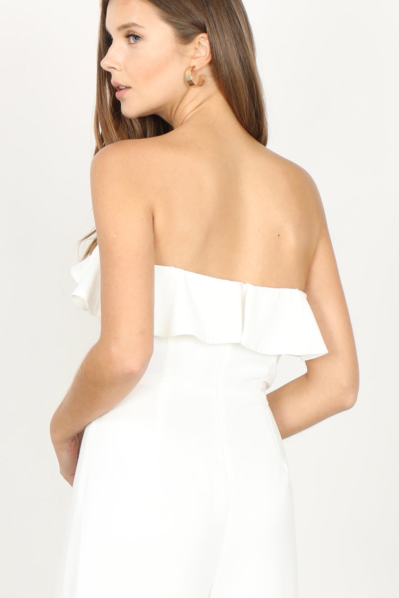 Strapless Ruffled Top Culottes Jumpsuit Back