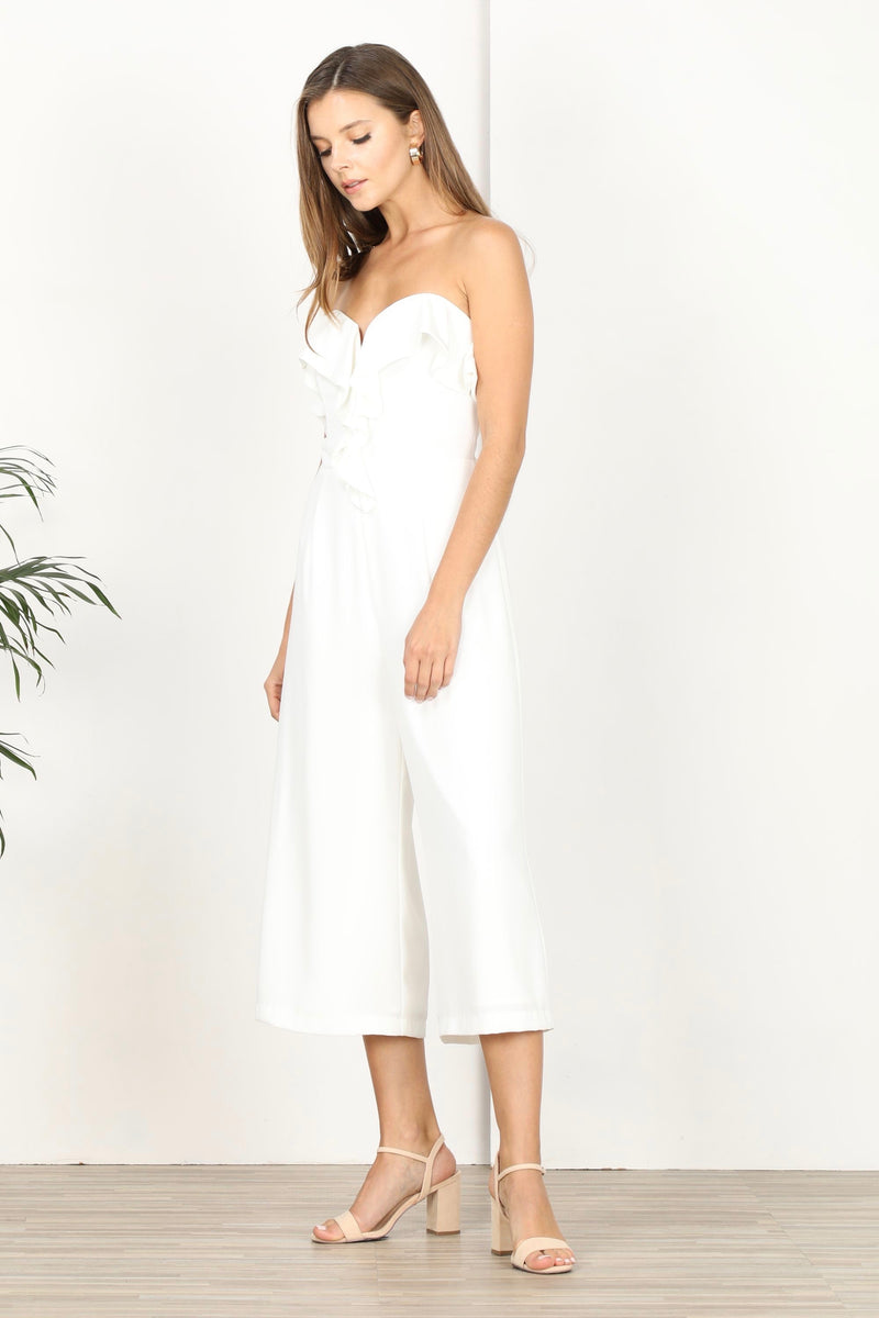 Strapless Ruffled Top Culottes Jumpsuit Long