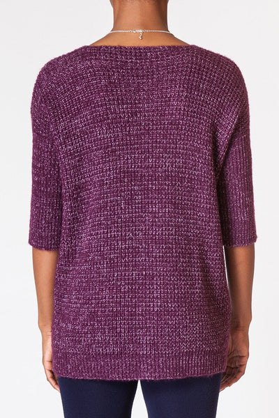 Contrast Waffle Knit Sweater - back