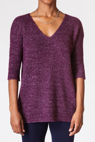 Contrast Waffle Knit Sweater - front