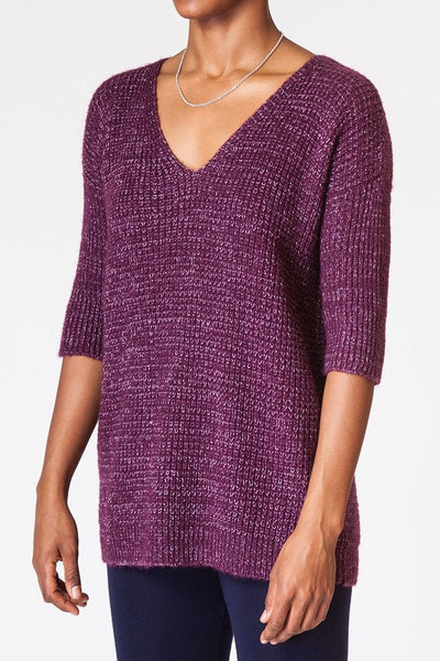 Contrast Waffle Knit Sweater - side front