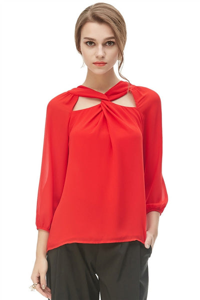 Twisted Front Cutout Blouse - Red - front