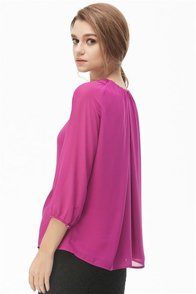 Twisted Front Cutout Blouse - Red - back