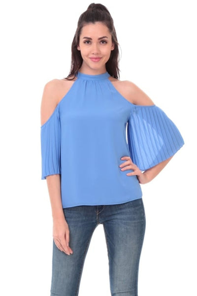 Cold Shoulder Pleated Sleeve Top