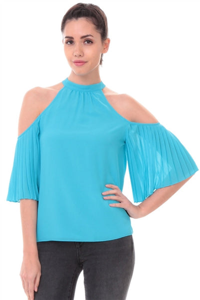 Cold Shoulder Pleated Sleeve Top in Aqua