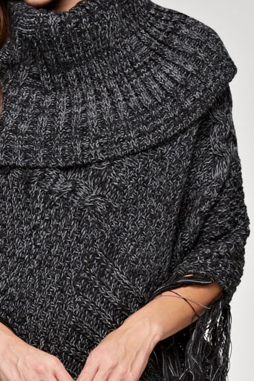 Cowl Neck Tassel Hem Poncho Close Up