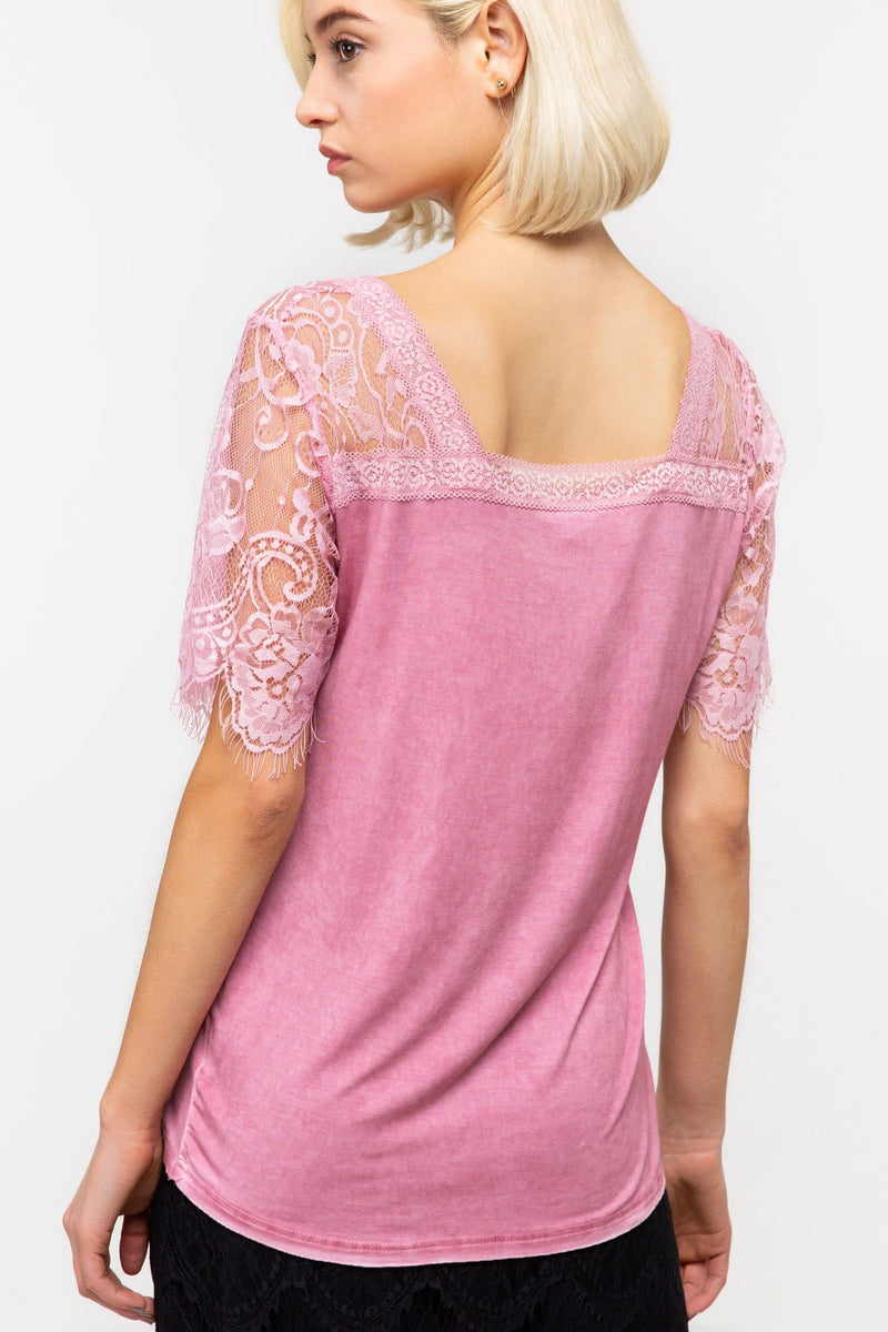V-Neck Top with Lace Detail Sleeves
